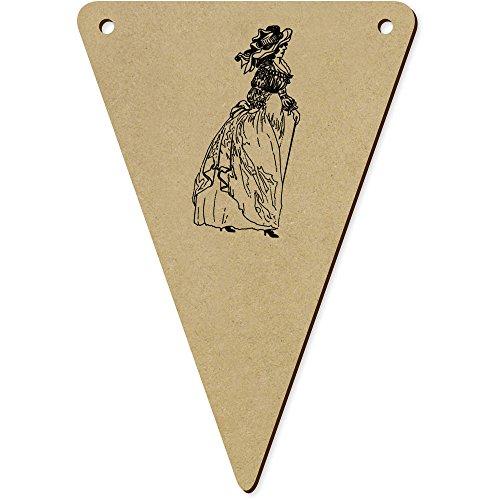 5 x 140mm 'Vintages Französisches Kleid' Wimpel / Banner aus Holz (Flagge Französische Kleid)