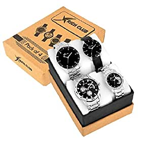 Rich Club Analogue Multicolour Dial Men's and Women's Couple Watch - Combo of 4