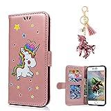 LA-Otter Apple iPhone 5 5S SE hülle Leder Einhorn Rosa Rosegold Glitzer Tasche Handyhüllen Lederhülle Ledertasche mit Kartenfach Schutzhülle Flip Case Klapphülle