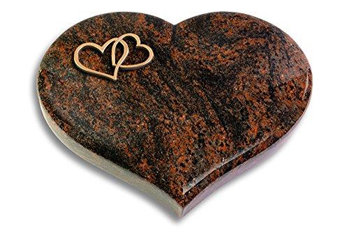 Grabplatte, Grabstein, Grabherz, Urnengrabstein Modell Coeur 40 x 30 x 7 cm Aruba-Granit, poliert inkl. Gravur (Bronze-Ornament Herzen)