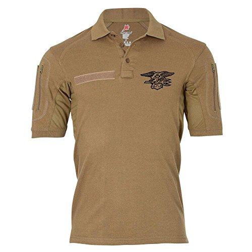 Tactical Poloshirt Alfa Seals Us Navy Wappen Abzeichen Trident Emblem United States Elite Einheit #20617, Größe:M, Farbe:Sand