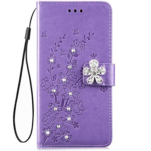 IKASEFU Schutzhülle für Samsung Galaxy A10, glänzend, Strasssteine, Blumen-Design, PU-Leder, Glitzer, Brieftaschen-Design, mit Kartenfächern, Magnetverschluss, Standfunktion, Schutzhülle violett