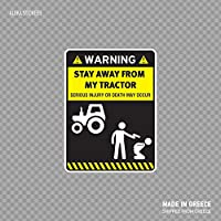 Beach345sley Stay Away from My Tractor Funny Sign Farmer Agriculture Farming X4585 Funny Sticker Decal 10x8.5 inch
