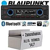 Alfa Romeo 147 Silber - Autoradio Radio Blaupunkt Doha - Bluetooth CD MP3 USB - Einbauzubehör - Einbauset