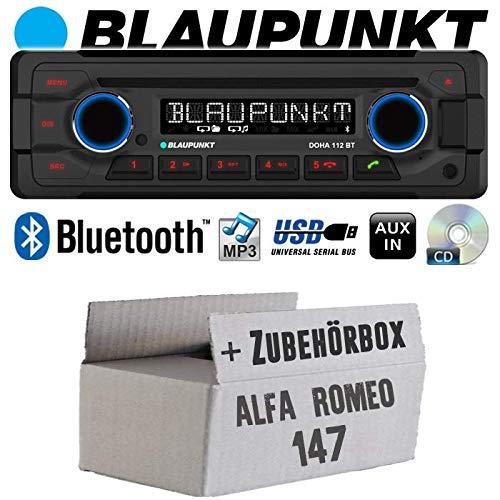 Alfa Romeo 147 grau - Autoradio Radio Blaupunkt Doha - Bluetooth CD MP3 USB - Einbauzubehör - Einbauset