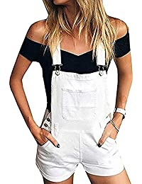 Dihope Femme Salopette en Denim Loisir Short Pantalon Combinaison  Combishort Jeans Casual Pants Slim Skinny b778758ee03