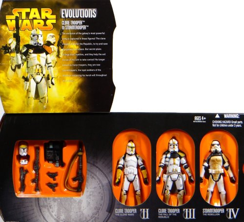 Collector Set Evolutions Clone Trooper to Stormtrooper Version 2 mit AOTC Clone Pilot, Clone Commander EPIII und Sandtrooper dirty - Star Wars Revenge of the Sith Collection von Hasbro