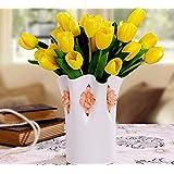 XPHOPOQ flores artificiales Ceramica Jarrones Estilo minimalista El Tulip interiorjardín Boda Ramos home Decoración amarillo