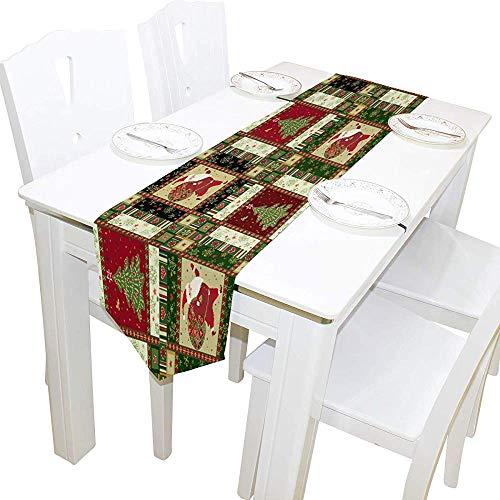 Garry Henry Tischläufer Home Decor, Santa Claus Tischdecke Läufer Kaffeematte für Hochzeitsfeier Bankett Dekoration 13 x 90 Zoll -