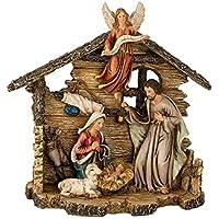 Dekobox Weihnachtskrippe mit handgeschnitzter Heiliger Familie einzigartig aus massivem Erlenholz