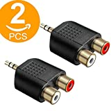 Act 2 Pack Gold Plated 3.5 mm Male Stereo Plug to 2 RCA Female Jack Audio Y Splitter Adapter