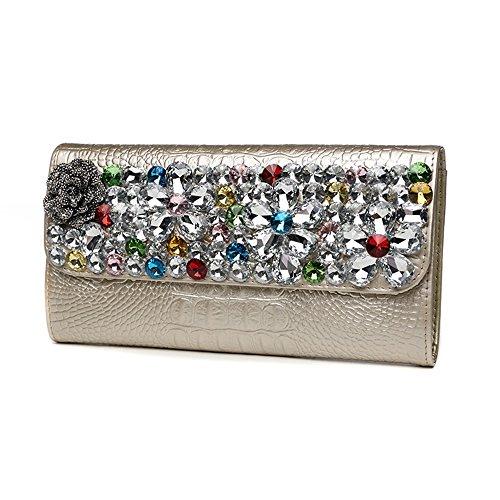 Damenhandtasche, Art und Weiselederdamebeutel, Handbeutel, koreanisches Bankettabendessenpaket ( Farbe : Weiß ) Gold