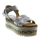 Angkorly - Chaussure Mode Sandale Mule lanière Cheville Plateforme Folk Femme Multi-Bride Peau de Serpent Boucle Talon compensé Plateforme 8.5 CM - Argent - T682-3 T 40