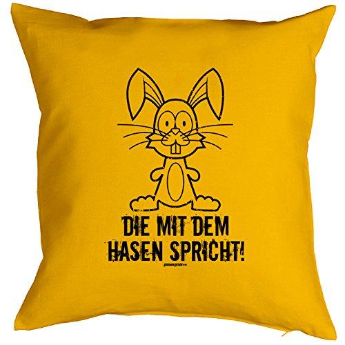 Kissen mit Innenkissen - Hasen 40 x 40 cm Geschenk für Frauen in gelb lustiges Motiv HASE CARTOON : )