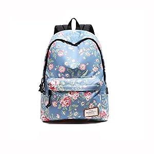 Beibao HQ Mochila Floral Bolso De Escuela Moda Casual Estudiante Viaje Caminata Azul Claro (Color : 2)
