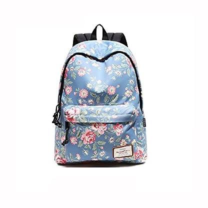 51JzGK4JODL. SS416  - Beibao HQ Mochila Floral Bolso De Escuela Moda Casual Estudiante Viaje Caminata Azul Claro