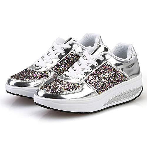 Xinantime Zapatos Cuña Mujer Zapatillas Deporte Lentejuelas