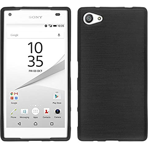 Coque en Silicone pour Sony Xperia Z5 Compact - brushed argenté - Cover PhoneNatic Cubierta + films de protection