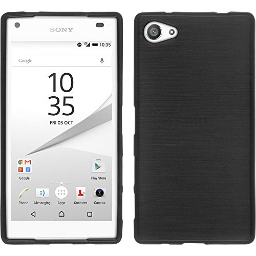 PhoneNatic Case für Sony Xperia Z5 Compact Hülle Silikon silber brushed Cover Xperia Z5 Compact Tasche + 2 Schutzfolien