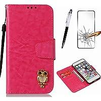 Handyhülle für Huawei Y5 2017 / Y6 2017 Hülle MISSDU Leder Flip Case Brieftasche Etui SchutzhülleTasche Cover Rhinestone Eule+Screen Protector + Touch Pen - stieg rot