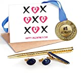 TiedRibbons® Valentine Day Gifts for Husband Combo(Golden Medal ,Golden cufflinks,Tie-pin,Studded pen and Greeting card)