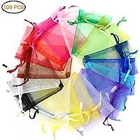 Hihey Saco de Organza 100x Bolsa de Organza 10 Colores Bolsa de joyería Absofine Bolsa de