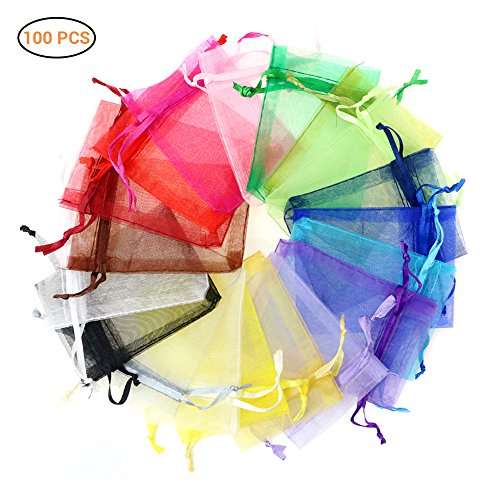 SayHia 100pcs/pack Sheer Organza Gift Bags for Wedding Party Favor Gift Bags 10x15cm Candy Bags Jewelry Pouches