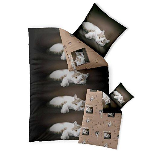 2-tlg. Kinder-Bettwäsche 135 x 200 cm Baumwolle Renforcé 4-Jahreszeiten CelinaTex Bettbezug Fashion Fun 0003368 beige creme braun Katze