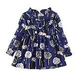 Hongyuangl Kleines Mädchen Gedruckt Langarm Frühling Herbst Kleid Rüschen Bluse Outfits