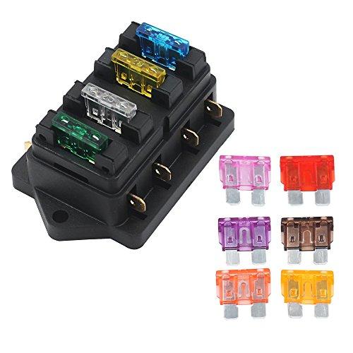 EEFUN Caja del Sostenedor del Fusible de la Lámina Estándar del Coche de 4 Maneras (Apliqúese a 1~40 AMP), Bloque con 10 Fusibles Libres de la Lámina (3A 5A 7.5A 10A 15A 20A 25A 30A 35A 40A)