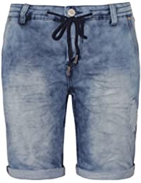 Urban Surface Damen Sweat Bermuda-Shorts in Jeans Optik | Kurze Hose mit Aufschlag und Kordel im Used Look