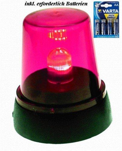 Preisvergleich Produktbild 2 x LED Signallampe Rundumlicht Pink inkl. Batterien, Partylicht Diskolampe LED-Blink Effekt