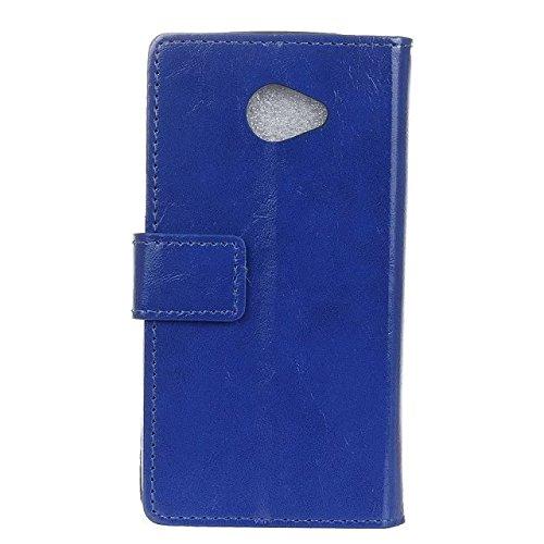 LG K5 Case, Solid Color verrückt Pferd Textur Muster Leder Schutzhülle Case Horizontal Flip-Stand Geldbörse mit Karten Slots für LG K5 ( Color : Pink , Size : LG K5 ) Blue