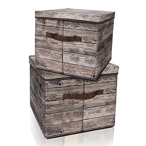 Eggsnow pliable Boîtes de rangement Cubes (lot de 2), tissu
