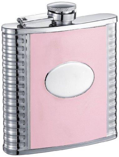 Visol Tux Deux Flachmann, Kunstleder, Schwarz 6 oz Pink rose - Stud-trim Leder