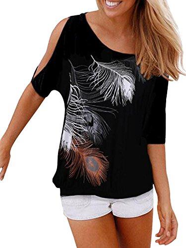 Issza Damen Sommer T-Shirt Kurzarm Feder Schulterfrei Bluse Casual Tops Lose T-Shirt , B, Size L Passen Sie Ihr Eigenes T-shirt
