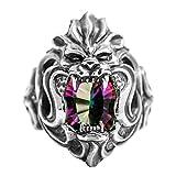 AMDXD Echtschmuck Ring 925 Silber Herren Löwe Kopf Bunt Quadrat Korund Silber Größe 63 (20.1)