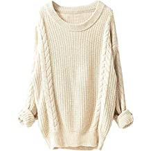 cbc2692172883 Tefamore Femmes d hiver Grand col Rond Manches Longues Pull Chanvre Pull en  Maille