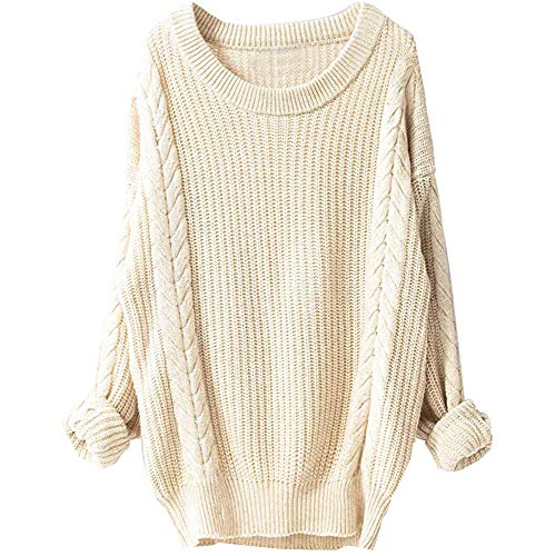 Tefamore Femmes d'hiver Grand col Rond Manches Longues Pull Chanvre Pull en Maille(Beige,X-Large)