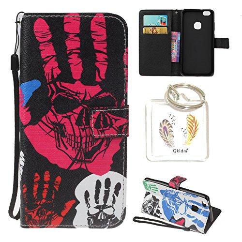 Preisvergleich Produktbild Huawei P10 Lite PU Silikon Schutzhülle Handyhülle Painted pc case cover hülle Handy-Fall-Haut Shell Abdeckungen für Smartphone Huawei P10 Lite + Schlüsselanhänger (/T) (2)