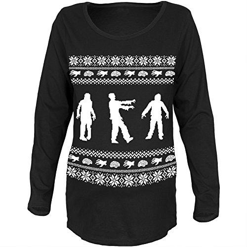 ihnachts Pullover schwarz Womens Soft Mutterschaft Langarm T-Shirt-Medium (Womens Hässlichen Pullover Weihnachten)