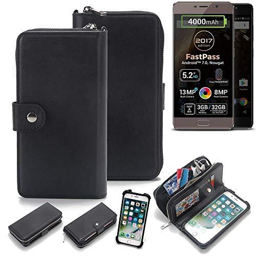 K-S-Trade 2in1 Handyhülle für Allview P9 Energy Lite (2017) Schutzhülle & Portemonnee Schutzhülle Tasche Handytasche Case Etui Geldbörse Wallet Bookstyle Hülle schwarz (1x)
