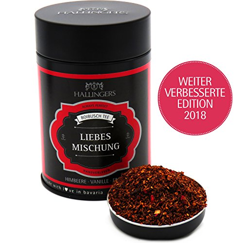 Hallingers Loser Roibusch-Tee/Rooibostee mit Himbeere & Vanille (120g) - Liebesmischung (Premiumdose) - ideal als Geschenk
