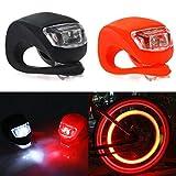 LED Fahrradlicht,LED Silikon Lampe Licht,wasserdichte+Ultra Bright LED,Fahrradscheinwerfer+Fahrradrücklichter,Clip Lampe,Fahrräder Nacht Taschenlampe,3 blinkenden Modi,am Rucksack,Helm,Jacke (2pc)