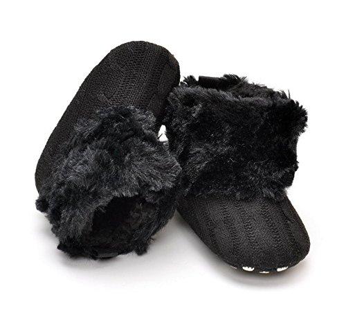 Philna12 Lovely bébé fille en fourrure d'hiver chaud Tricot doux Berceau Chaussures Bottes