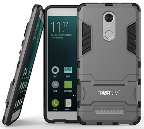 Heartly Graphic Designed Kick Stand Hard Dual Rugged Armor Hybrid Bumper Back Case Cover For Xiaomi Mi Redmi Note 3 - Metal Grey