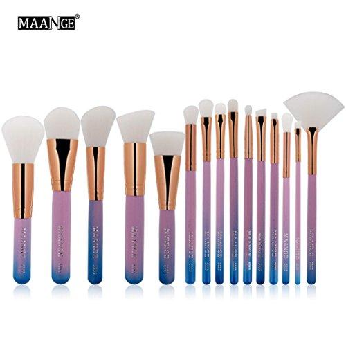 OverDose,15pcs CosméTique Maquillage Brosse Fard à Joues Le Fard à PaupièRes Pinceaux Set Kit(Rose)