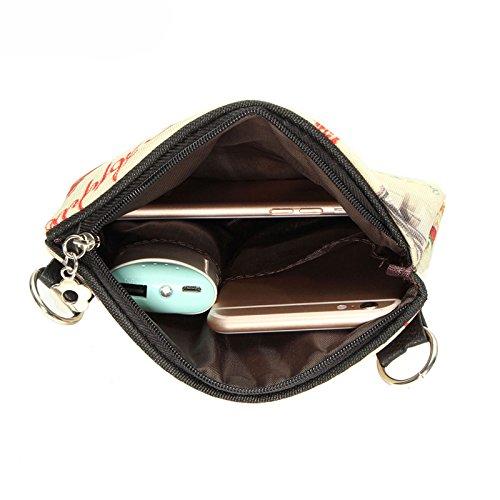 24 borsa di tela - SODIAL(R)Donne Messenger Borse Vintage Canvas Stampa Piccolo Satchel spalla di stile europeo ragazze della borsa della signora di Crossbody Viola 24 Giallo