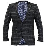 Thomson & Richards Herren kariert Blazer Fischgrätenmuster Tweed Jacke Mantel Velvet Patch - dunkelgrau - joshchk, Large/42