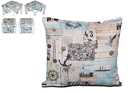 exclusive Kissenhülle 40x40 cm MARITIM Kissenbezug Baumwolle Vintage Style Nautik Shabby Look Möwe Kieselsteine Kollektion Schleiß / Germany (Kissenhülle 40x40 cm)